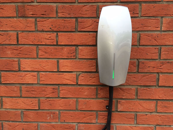Electric Vehicle Home Charger  on Exterior Wall